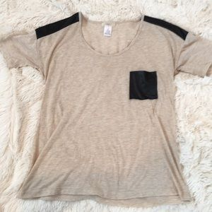 T-shirt with Faux Leather pocket and detailing